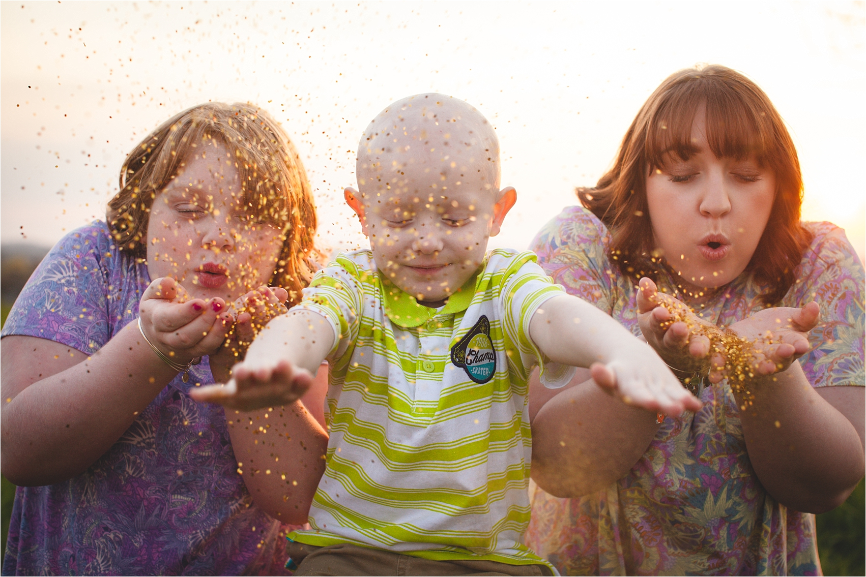 Photo sessions cancer patients siblings with glitter photo by The Gold Hope Project